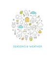 Seasons and Weather Line Icons Round vector image