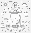 Startup Rocket thin line icon Human Space Flight vector image