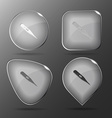 Thermometer Shows 40 degrees Celsius Glass buttons vector image