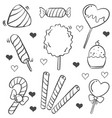 doodle of candy sweet various vector image