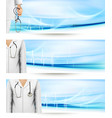 Medical banners with a doctors lab white coat and vector image vector image