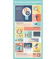 Retro business flat icons infographics set vector image
