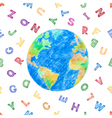 Globe and color alphabet vector image