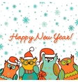 christmas background with funny owls vector image