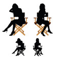 girl silhouette sitting on the chair set vector image