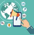 hand with smarphone digital marketing speaker vector image