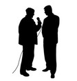 reporter asking a question to a businessman vector image