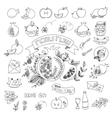 Rosh Hashana doodles set vector image