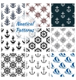 Nautical seamless pattern set of navy anchor vector image