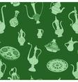 Seamless green pattern of arabic crockery vector image