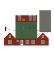 Paper model of a red house vector image