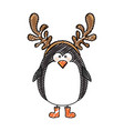color crayon stripe cartoon of penguin with horns vector image