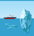 diesel icebreaker ship iceberg and whale vector image
