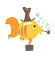 funny cartoon golden fish in a hat with briefcase vector image