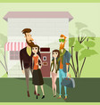 hipster couples walking cartoon people vector image