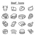 meat beef icon set vector image