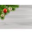 Pine tree branch christmas balls white wood vector image