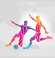 soccer players footballers kicks the ball in vector image