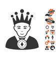 king icon with lovely bonus vector image