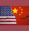 america china flag broken wall vector image