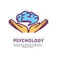 psychology logo design with open hand palms with vector image