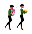 black african businesswoman carrying document vector image