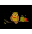 Portrait of fashionable owl on great night sale vector image