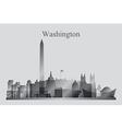 Washington city skyline silhouette in grayscale vector image