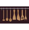 wooden utensils vector image