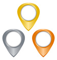 gold silver bronze glossy blank tag on the map vector image