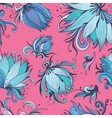 Blue and Pink Lotus Pattern vector image
