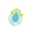 drop water leaf eco logo vector image