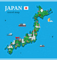 japan map for traveler with local oriental vector image