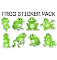 Sticker set of green frogs vector image