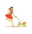 super mom character with child walking a dog vector image