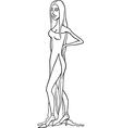 beautiful woman in dress cartoon vector image