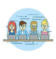 businesspeople teamwork with laptop and hairstyle vector image