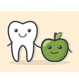 Healthy tooth and apple vector image