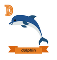 Dolphin D letter Cute children animal alphabet in vector image
