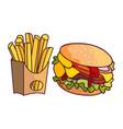 burger potato fry cartoon set isolated vector image