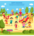 Kids Playing Poster vector image