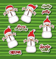 merry christmas with stickers pattern of snowman vector image