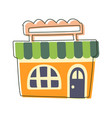 small orange grocery shop cute fairy tale city vector image