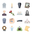 Funeral ceremony set icons in cartoon style Big vector image