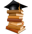 Books with graduation cap vector image vector image
