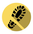 footprint boot sign  flat black icon with vector image
