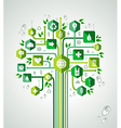 Green flat icons technology tree vector image vector image