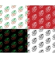 Cherry seamless pattern set vector image
