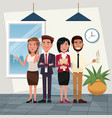 color background workplace office full body set of vector image