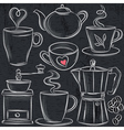 set cup of hot drink on blackboard vector image